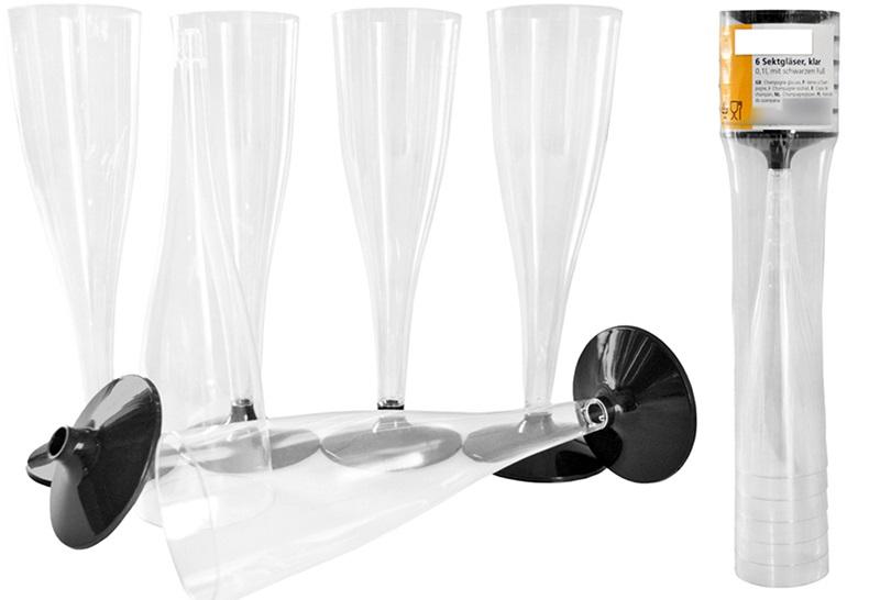 sektgl ser sektglas kunststoff schwarzer fu trinkglas. Black Bedroom Furniture Sets. Home Design Ideas